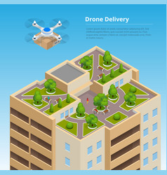 isometric drone fast delivery of goods in the city vector image