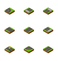 isometric road set of cracks unilateral without vector image