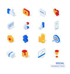 Isometric social marketing icons set vector