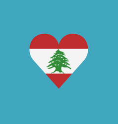 lebanon flag icon in a heart shape in flat design vector image