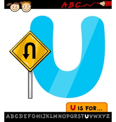 Letter u with u turn sign cartoon vector