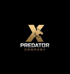 Letter x tiger predator logo design vector