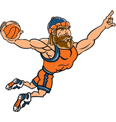 lumberjack sports logo mascot basketball vector image
