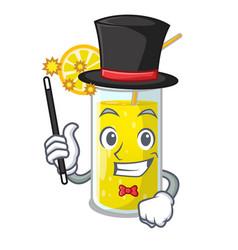 Magician fresh lemon juice in glas cartoon vector