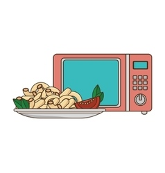 Microwave oven with macaroni plate vector