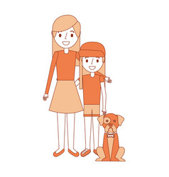 mom embracing with her daughter and dog vector image