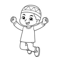 Moslem boy jumping bw vector