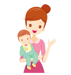 Mother embracing baby with feeding bottle vector