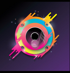 music background with bright color audio speaker vector image