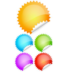 peeling colorful shiny rounded stickers labels vector image