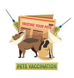 Pets vaccination orthogonal background composition vector