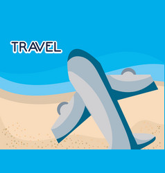 plane flies over beach on tourist vacation trips vector image