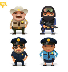 Police professions set vector