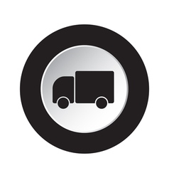 Round black and white button - lorry car icon vector