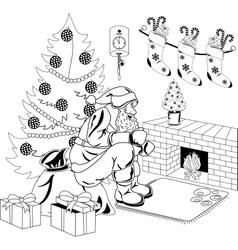 santa claus sits fire vector image