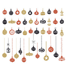 set christmas glass toys clear christmas vector image