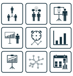 Set of 9 administration icons includes project vector