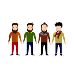 set of hipster characters vector image