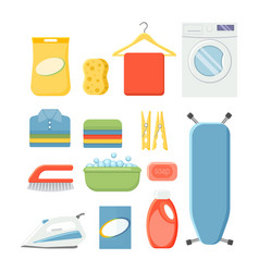 set of household laundry supplies vector image