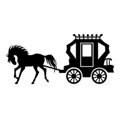 Silhouette carriage and horse vector