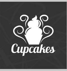 silhouette of cupcake symbol vector image