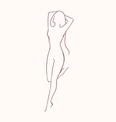 Silhouette of young long-haired naked woman vector