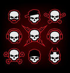 Skull logo set on a dark background vector