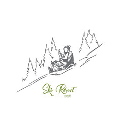 sled winter mountains activity sport vector image