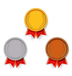 sport award medal gold silver bronze sport 1st 2nd vector image