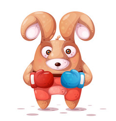 sport boxing crazy rabbit vector image