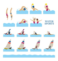 Sports athletes water people action set vector