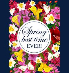 Springtime floral greeting flowers poster vector