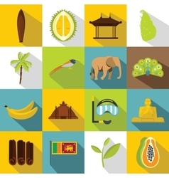 Sri Lanka travel icons set flat style vector image