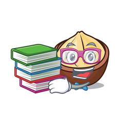 Student with book macadamia mascot cartoon style vector