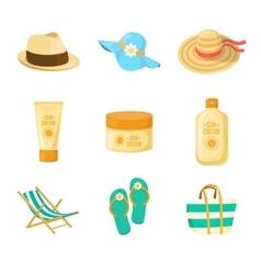 Sun creams Hats Beach accessroies vector