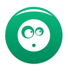 Surprised smile icon green vector