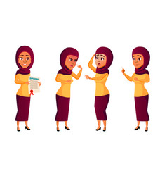 teen girl poses set arab muslim active vector image