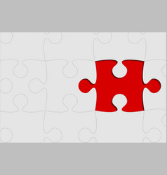 The one red background puzzle piece jigsaw vector