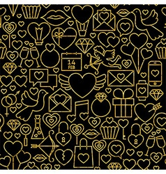 Thin Line Gold Black Valentines Day Seamless vector image