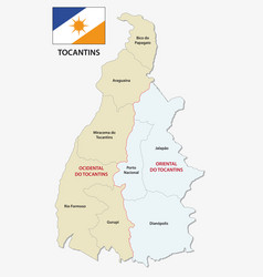 Tocantins administrative map with flag vector