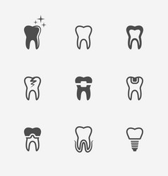 tooth teeth nine black medical icons vector image