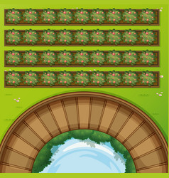 top view of park with flowerbeds vector image