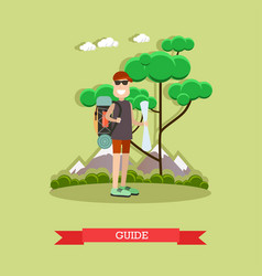 Tour guide in flat style vector