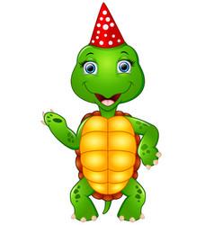 Turtle cartoon celebrating birthday vector