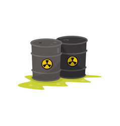 two barrels with chemical radioactive waste vector image