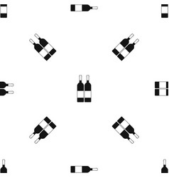 two bottles of wine pattern seamless black vector image