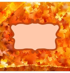 Vintage card on autumn leaves texture EPS 10 vector image