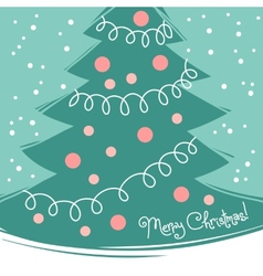 Vintage card with Christmas tree vector