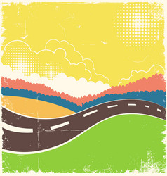 vintage nature background with road on old paper vector image