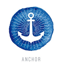 Watercolor nautical logo with an anchor vector image
